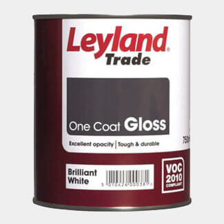 Leyland Trade One Coat Gloss Paint Brilliant White - More Sizes Available