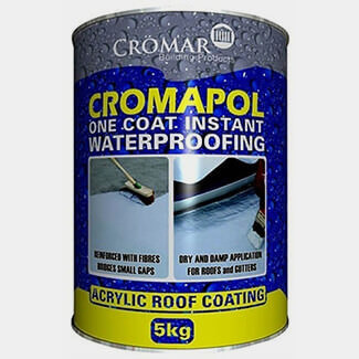 Cromar Cromapol One Coat Instant Waterproofing Acrylic Coating Black 5Kg