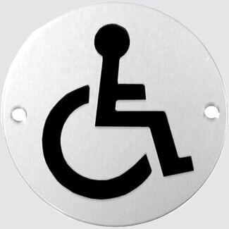 Dale 3 Inch Circular DISABLED Pictogram - Other Variations Available