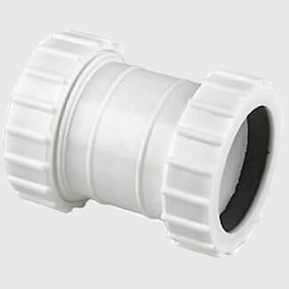 Compression Universal Waste Straight Coupler White - Various Diameters Available