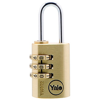 Yale Y150 3 Dial Combination Padlock Brass - Various Sizes Available