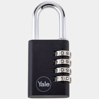 Yale YE3C Aluminium Combination 3 Dial Padlocks Black Available In Various Sizes