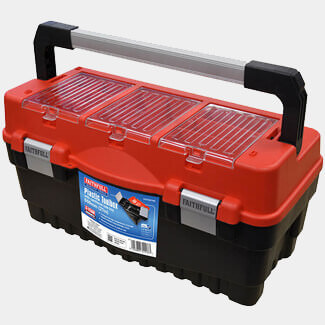 Faithfull Plastic Toolbox With Cantilever Tote Tray Organiser 550mm