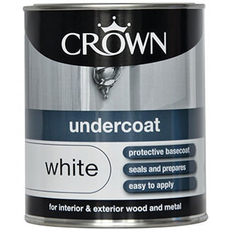 Crown Undercoat Paint Brilliant White - Various Litres Available