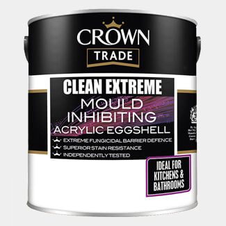 Crown Trade Clean Extreme Mould Inhibiting Acrylic Eggshell Paint White 2.5L