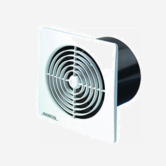 Manrose Low Profile Square Standard Fan 100mm - Various Colours Available