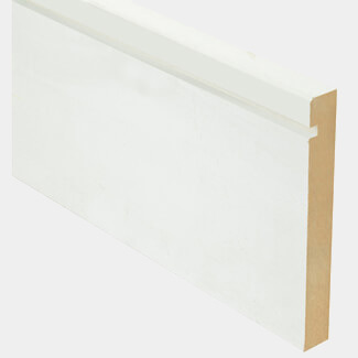 Buildworld White Primed One Groove And Chamfered MDF Skirting 119mm (5 Inch) - 4200mm Length