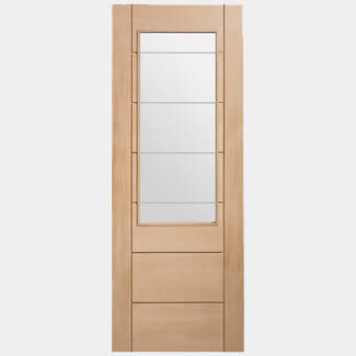 XL Joinery Palermo 2XG Internal Oak Door With Clear Etched Glass - Various Sizes Available